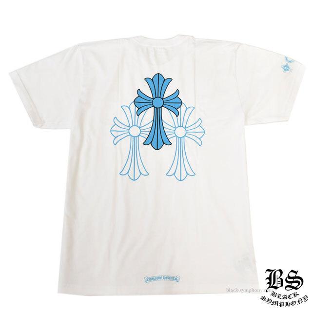 クロムハーツ Tシャツ ブルー3セメタリークロス ホワイト