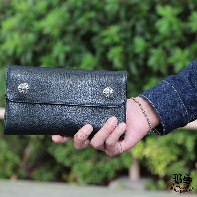 クロムハーツ chrome hearts ウェーブウォレット クロスボタン ブラック ヘビーレザー 税込 ¥244,200
