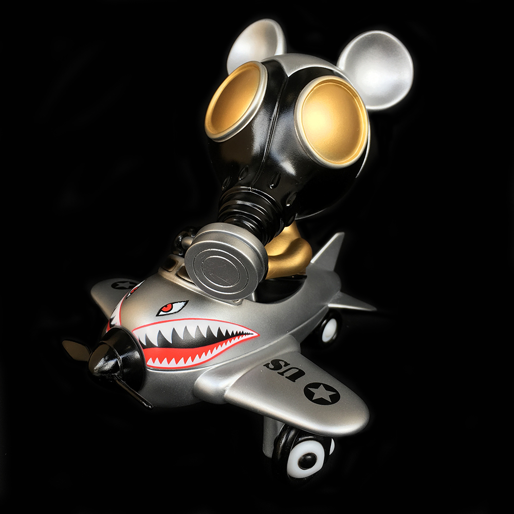Ron English x BlackBook Toy( ロン・イングリッシュ) Mousemask Murphy in Airplane Tokyo Gold edition