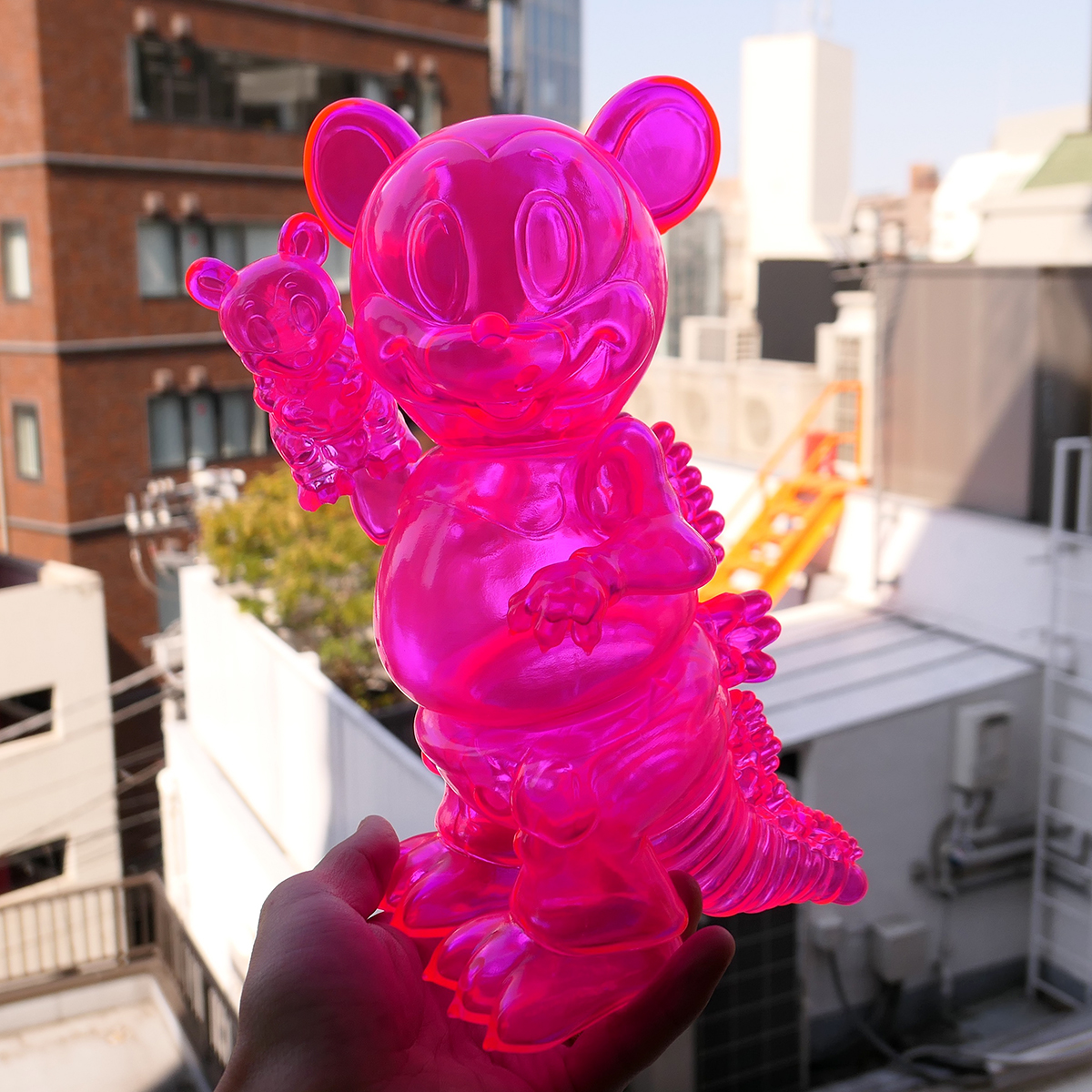 Ron English x BlackBook Toy( ロン・イングリッシュ) Mousezilla Clear Neon PK with mini