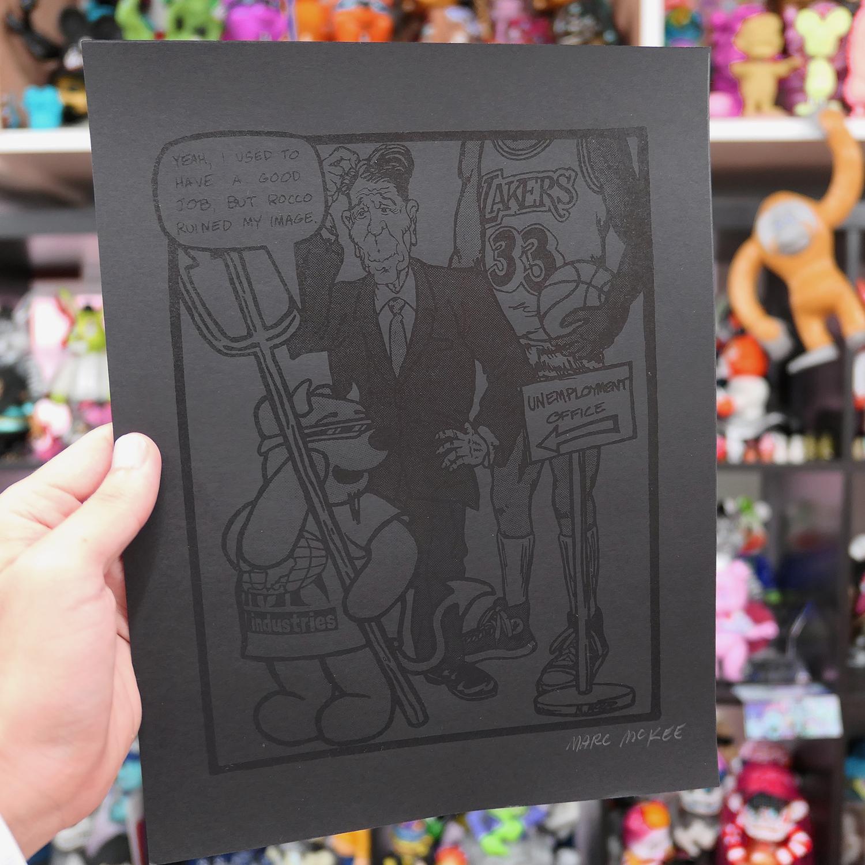 Marc McKee:Rocco 3 Devil Bear screen print Blackout edition