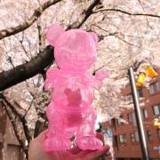 Ron English x BlackBook Toy( ロン・イングリッシュ) Mousezilla Sakura Clear with RED GID mini