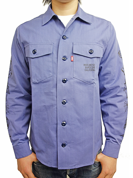 HIDE AND SEEK Fatigue Shirt BLUE