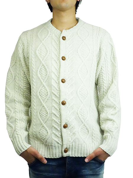 BLUEY FISHERMAN CREWNECK CARDIGAN OFF
