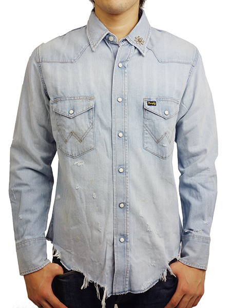 "Wrangler STUDS CUSTOM DENIM WESTERN SHIRTS ""SURF"" 336"