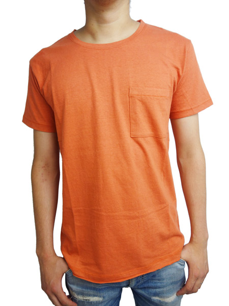 LIFE IS.... BIG POCKET TEE D.ORANGE