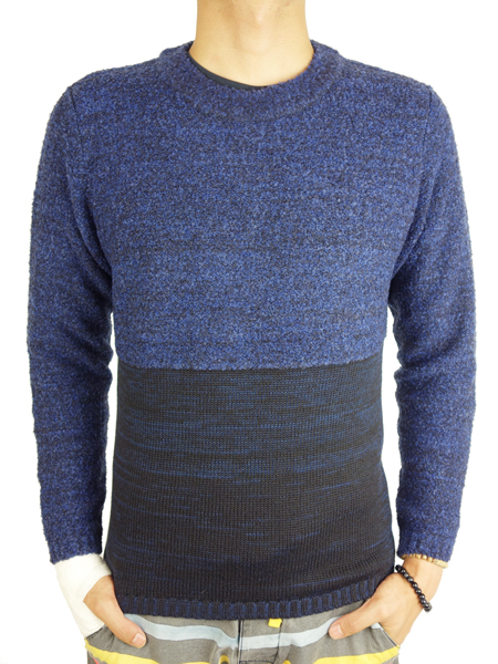 SeaGreen bi-color crew neck knit NAVY