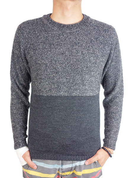 SeaGreen bi-color crew neck knit C.GRAY