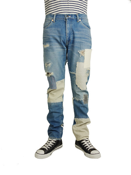 SEVESKIG HARD CRUSH DENIM MODEL -ROKURO- LIGHT INDIGO