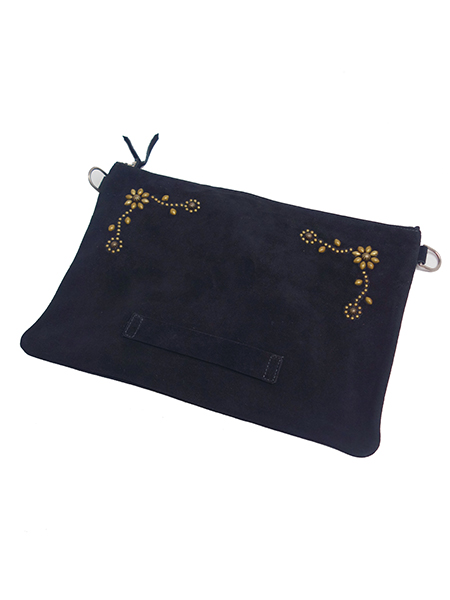 HTC BLACK SUEDE CLUTCH 023 w/STRAP LARGE BLACK×BRASS