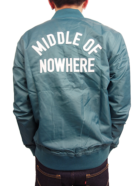 THE QUIET LIFE Middle Of Nowhere Satin Jacket TEAL/WHITE
