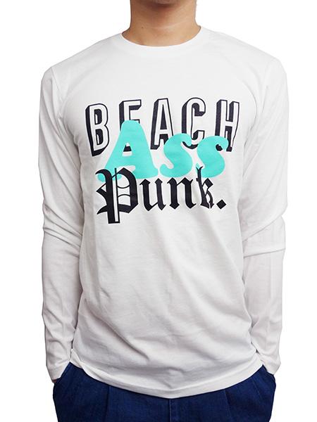 BEACH ASS PUNK MIXED TAPE L/S TEE WHITE