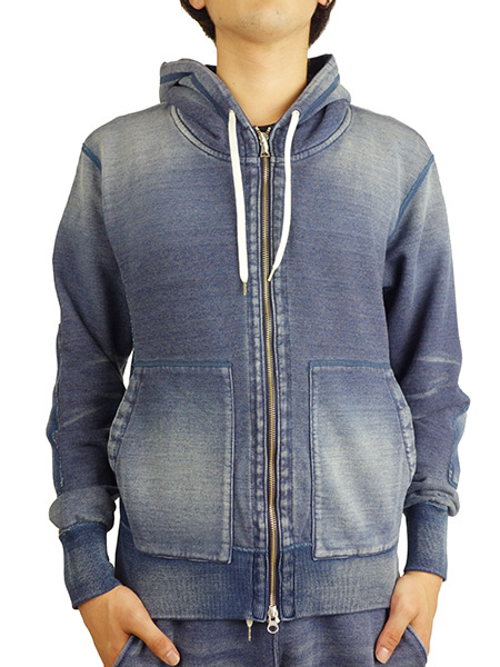 BLUEY INDIGO LOOPBACK ZIP PARKA BLUE