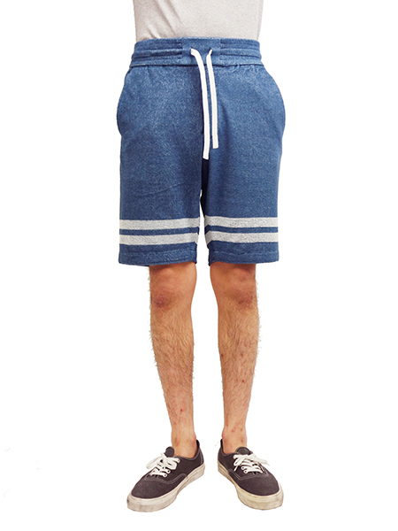 Seagreen pile shorts blue