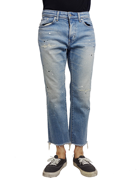 EDWIN Ancle cut studs custom jeans Lt.Blue