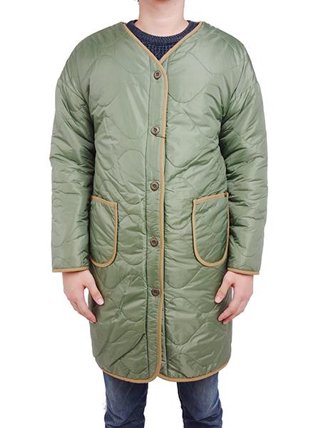 ALPHA Reversible Quilt Long Liner Jacket Light Olive
