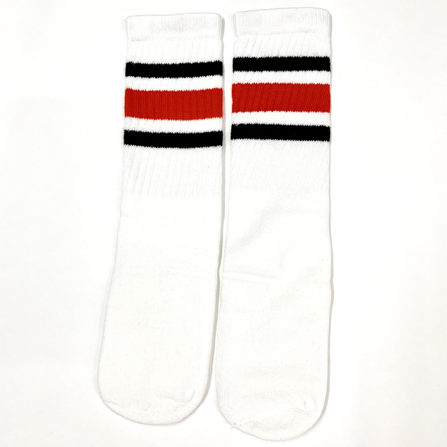 SKATER SOCKS 14Inch BLACK/RED