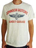Johnson Motors Inc. S/S TEE SUNSET GARAGE Dirty White