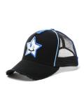 StarLean★ スマイルスター刺繍メッシュキャップ(BLUE×SILVER) BLACK