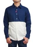 "SURREAL ""FUMIHIKO"" Bi-Color Button Down Shirt NAVY/WHITE"