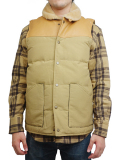 "SURREAL ""KOU"" 60/40 Cloth Grosgrain Boa Neck Down Vest BEIGE"