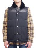 "SURREAL ""KOU"" 60/40 Cloth Grosgrain Boa Neck Down Vest BLACK"