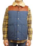 """SURREAL """"KOU"""" 60/40 Cloth Grosgrain Boa Neck Down Vest D.BLUE"""