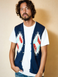 TMT NATIVE INTERSIA PERUVIAN HAND-KNIT VEST NAVY