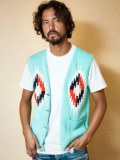 TMT NATIVE INTERSIA PERUVIAN HAND-KNIT VEST TURQUOISE