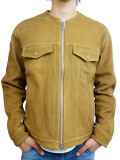 BLUEY NO COLLAR SUEDE JACKET CAMEL
