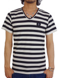 INSTED WE SMILE V/N SMALL PATCH BORDER TEE BLACK/WHITE