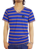 INSTED WE SMILE V/N SMALL PATCH BORDER TEE BLUE/GRAY