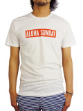 ALOHA SUNDAY SUPPLY Co. BUMPER RED T-SHIRT WHITE