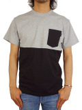 THE QUIET LIFE COLOR BLOCKED POCKET TEE H.GRAY/BLACK