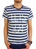Rolland Berry S/S STRIPE Tee 'LET'S SURF' WHITE/NAVY