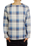 BLUEY PULLOVER BOAT NECK CHECK SHIRT BLUE