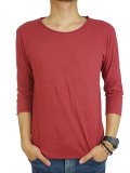 LIFE IS.... ROUGH NECK 7SLEEVE BURGUNDY