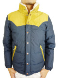TMT LEATHER COMBINATION DOWN JACKET NAVY