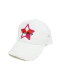 StarLean★ 5パーツ刺繍メッシュキャップ(PINK) WHITE