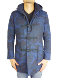 Battalion CAMO Melton Duffle Coat Blue Camo