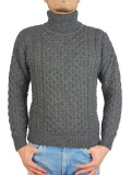 ARAN CRAFTS MERINO ROLL NECK SWEATER CHARCOAL