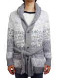 Birvin Uniform Chenille Shawl Collar Long Knit GRAY