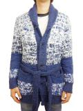 Birvin Uniform Chenille Shawl Collar Long Knit NAVY