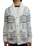 Birvin Uniform Native Patterned Shawl Collar Knit WHITE
