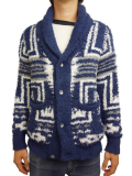 Birvin Uniform Native Patterned Shawl Collar Knit NAVY