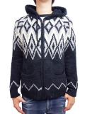 Birvin Uniform Chenille Patterned Zip Up Hoodie BLACK