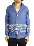 Seagreen native line shawl collar cardigan BLUE
