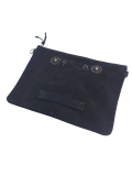 HTC BLACK SUEDE CLUTCH SUN FLOWER w/STRAP LARGE BLACK×BLACK