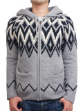 Birvin Uniform Chenille Patterned Zip Up Hoodie GRAY