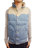 TMT DENIM REVERSIBLE DOWN VEST INDIGO LIGHT